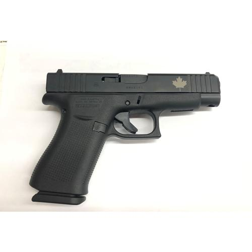 Glock 48 Semi-Auto Pistol, 9mm, Black, Fixed Sights, Custom Engraved Maple Leaf Slide?>