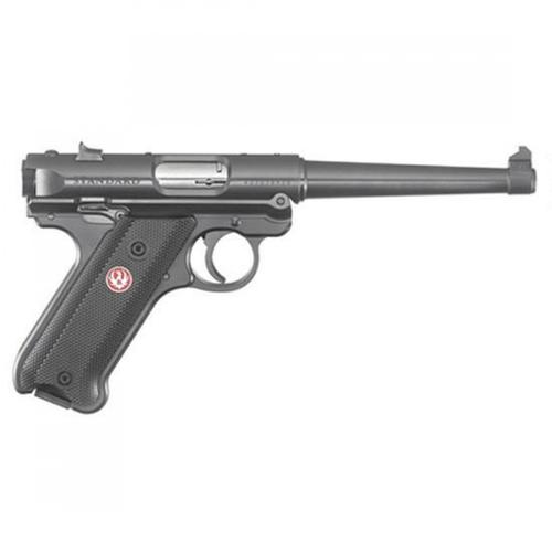 "Ruger Mark IV Standard Semi-Auto Pistol .22 Long Rifle 6"" Barrel 10 Rounds Fixed Sights Checkered Synthetic Grips Aluminum Frame Blued Finish 40105?>"