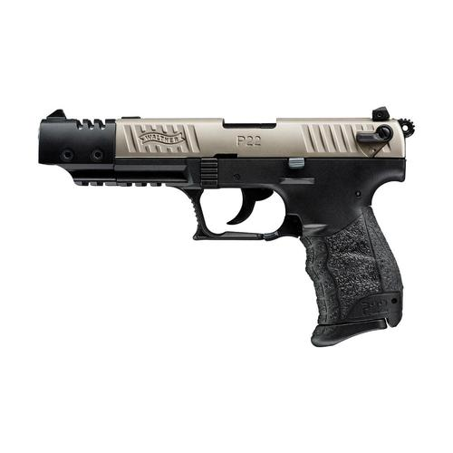 "Walther P22Q Target Semi-Auto Pistol Nickel Slide 22LR 5"" Barrel 512.06.04?>"