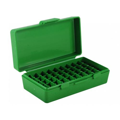 MTM Flip-Top Ammo Box, 380 ACP, 9mm Luger, 50-Round, Plastic, Green?>