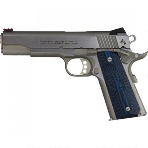 "Colt Competition 1911 Series 70 Government Model Semi-Auto Pistol 9mm Luger 5"" Barrel 9 Rounds Fiber Front Sight Novak Rear Sight G10 Grips Brushed Stainless Finish O1072CCS?>"