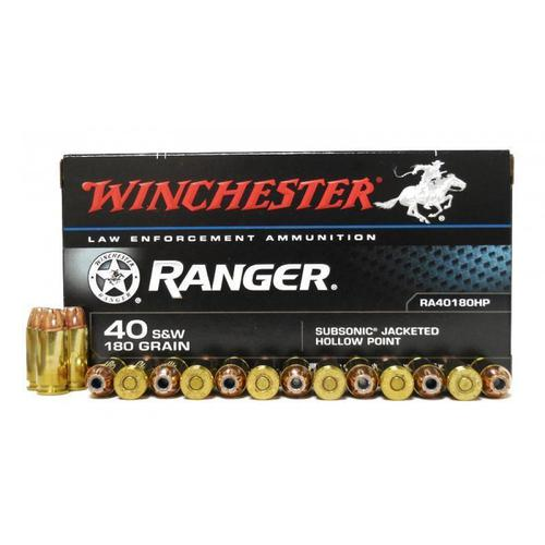 Winchester Ranger Ammunition, 40 S&W, 180 Grain, Subsonic JHP, RA40180HP - Box of 50?>