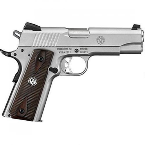 "Ruger SR1911 Commander Semi-Auto Pistol .45 ACP 4.25"" Stainless Steel Barrel 7 Rounds Hardwood Grips Low Glare Stainless Steel Finish 6702?>"