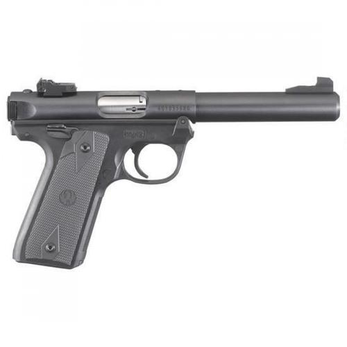 "Ruger Mark IV 22/45 Semi-Auto Pistol .22 Long Rifle 5.50"" Bull Barrel 10 Rounds Fixed Front Sight/Adjustable Rear Sight Polymer Grip Frame Synthetic Grips Blued/Black 40107?>"