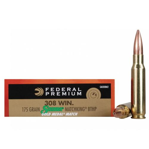 Federal Premium Gold Medal Ammunition 308 Winchester 175 Grain Sierra MatchKing Hollow Point Boat Tail - Box of 20?>