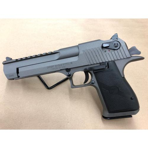 "Magnum Research Desert Eagle Mark XIX Semi-Auto Pistol .50 AE 6"" Barrel 7 Rounds Full Weaver Accessory Rail Black Grips Tungsten Cerakote Finish Dark Graphite Grey Color DE50TU?>"
