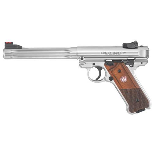 "Ruger Mark IV Hunter Semi-Auto Pistol, .22LR, 6.8"" Barrel, Wood Grip, Stainless Finish, 40118?>"