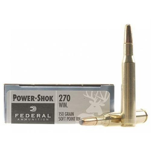 Federal Power-Shok Ammunition, 270 Winchester, 150 Grain, Round Nose Soft Point - 1 Box, 20 Rounds?>