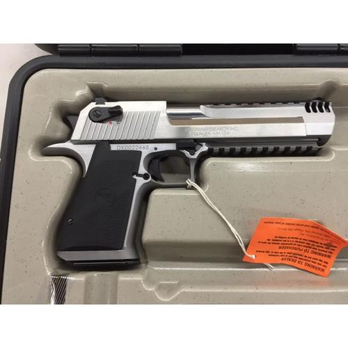 "Magnum Research Desert Eagle XIX Pistol, .50AE, 6"" Barrel, Stainless w/ Integral Muzzle Brake, 7 rounds, DE50SRMB?>"