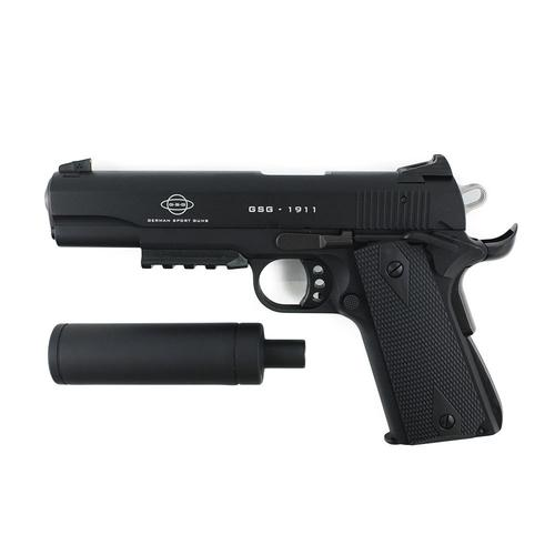 GSG 1911 .22LR Pistol Tactical Black with Black Grips and Faux Suppressor H02GSG911TAC?>