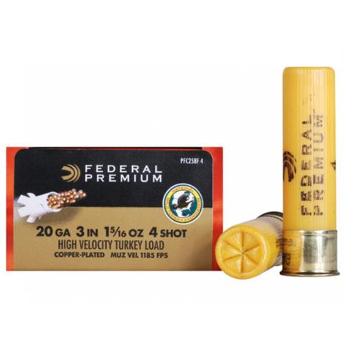 "Federal Premium Mag-Shok Turkey Ammunition, 20 Gauge, 3"", 1-5/16 oz, #4 Copper Plated Shot High Velocity - Box of 10?>"