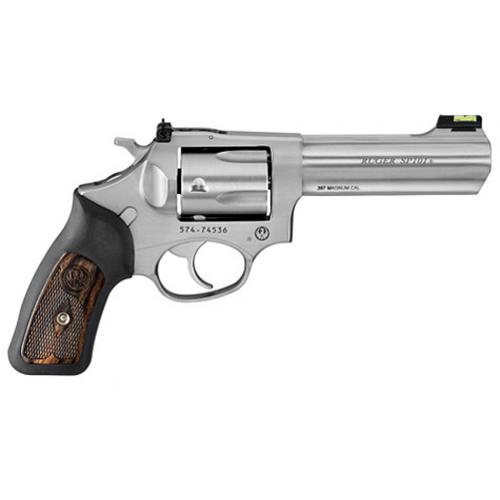 "Ruger SP101 Double Action Revolver, .357 Mag., 4.2"" Barrel, 5 Rounds, Fiber Optic Sight, Stainless Steel, 5771?>"