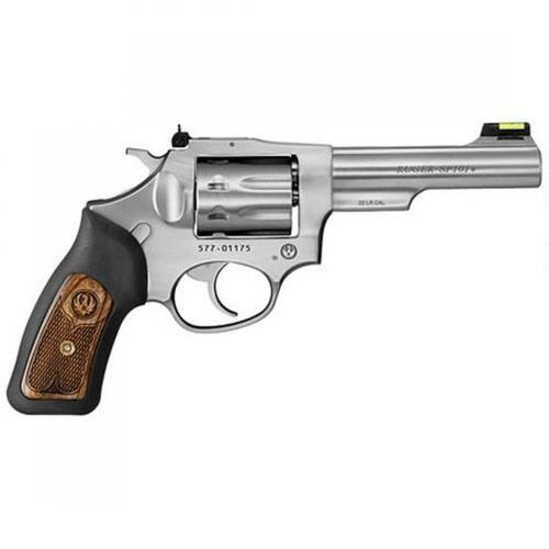 "Ruger SP101 Revolver 22LR 4.2"" Barrel 8 Rounds Fiber Optic Sight Black Rubber/Engraved Wood Grips Stainless Steel 5765?>"