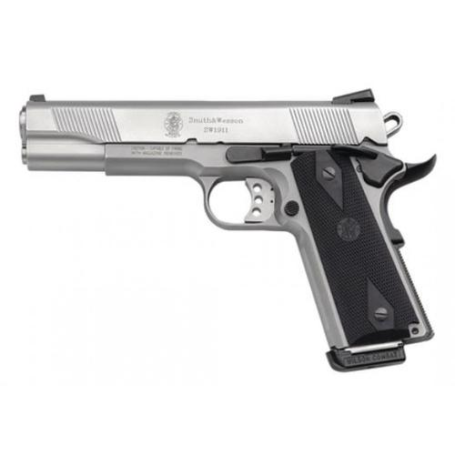 "Smith & Wesson 1911 Semi-Auto Pistol, .45 ACP, 5"" Barrel, Black Synthetic Grips, Satin Stainless Finish, 8 Rounds, 108282?>"