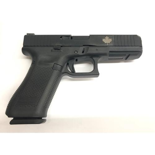 Glock 17 Gen5 FS Semi-Auto Pistol, 9mm, AmeriGlo Bold Night Sights, Custom Engraved Maple Leaf Slide?>