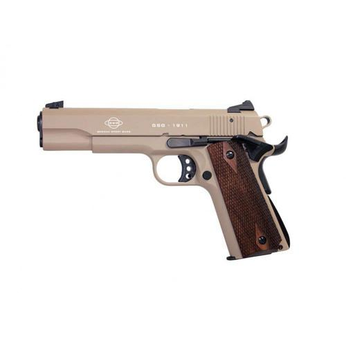 "GSG 1911 .22LR Pistol, 5"" Barrel, Desert Tan with Wood Grips H04GSG911DSTW?>"