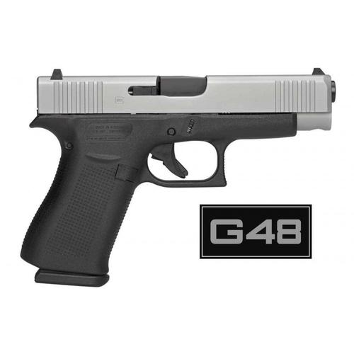 "Glock 48 Semi-Auto Pistol, 9mm, 4.17"" (106mm) Barrel, 10 Rounds, Two Tone, Ameriglo Bold Sights, PA485SL301AB?>"