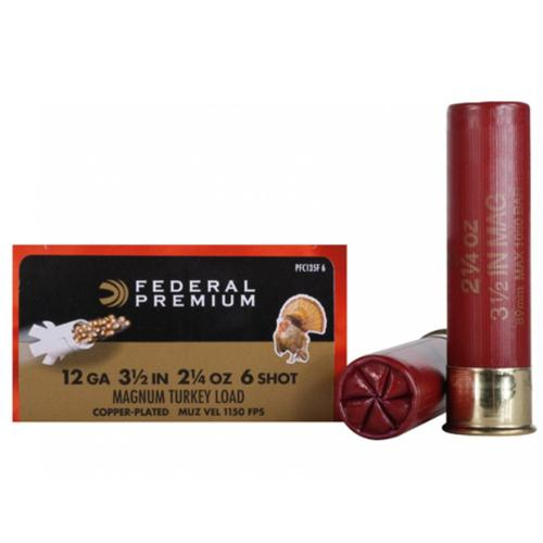 "Federal Premium Mag-Shok Turkey Ammunition, 12 Gauge, 3-1/2"", 2-1/4 oz, #6 Copper Plated Shot, High Velocity - 1 Box, 10 Shells?>"
