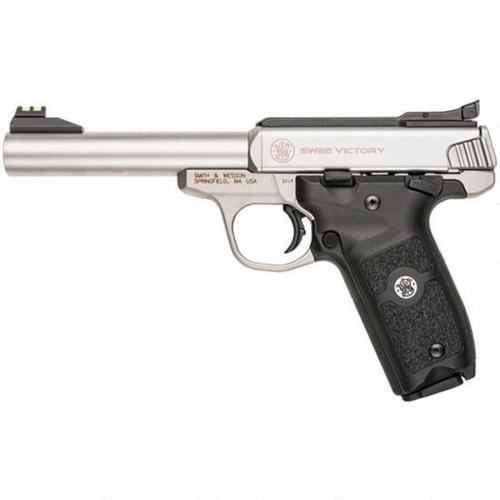 "Smith & Wesson SW22 Victory Semi-Auto Rimfire Pistol, .22LR, 5.5"" Match Barrel, 10 Rounds, Fiber Optic Sights, Polymer Grips, Satin Stainless Steel Finish, 108490?>"