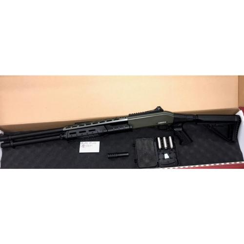 "Canuck Sentry Pump Action Shotgun, 12 Gauge, 3"" Chamber, 8 Rounds, 24"" Barrel, 3 Mobile Chokes, Fibre Optic Front Sight, Telescopic Stock, Olive Drab Green?>"