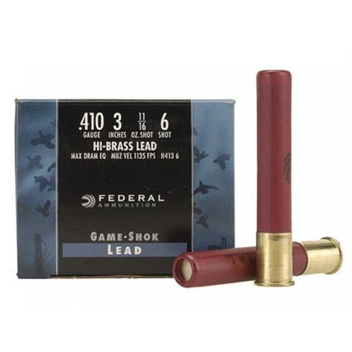 "Federal Game-Shok Hi-Brass Ammunition, 410 Bore 3"", 11/16 oz, #6 Shot H4136 - Box of 25?>"