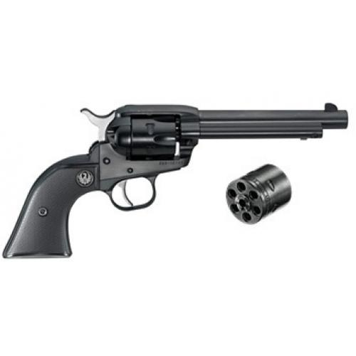 Ruger New Model Single-Six Convertible Single Action Revolver .22 LR/.22 Magnum 6 Shot Rubber Grip Blued Finish 0629?>