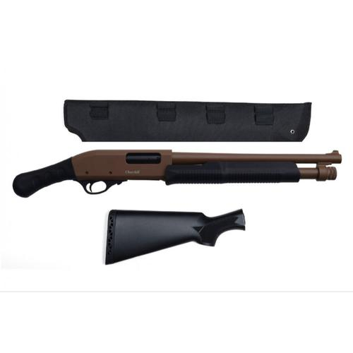 "Churchill Pump Shotgun 12 Gauge 15"" Barrel Shockwave Grip Scabbard and Full Stock included, Brown K61258?>"
