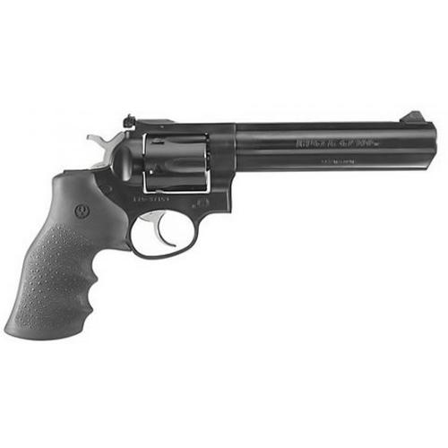 "Ruger 1704 GP100 Double Action Revolver, .357 Magnum, 6"" Brl, Black Hogue Monogrip, Blue Steel Finish, 6 rd, Adj Sights?>"