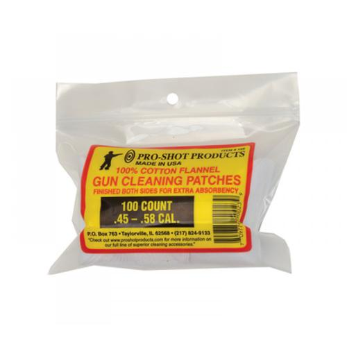 "Pro-Shot Cotton Flannel Cleaning Patches, 45 to 58 Caliber Black Powder, 2.5"" - 100 Pack?>"