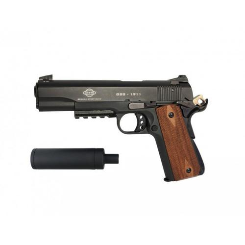 GSG 1911 .22LR Pistol Tactical Black with Moulded Wood Grips and Faux Suppressor H02GSG911TAC?>