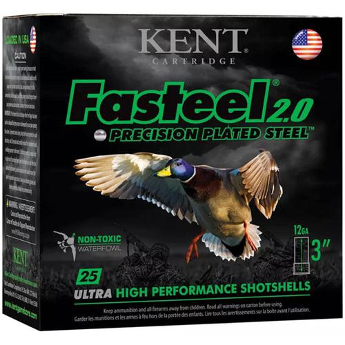 "Kent Cartridge Fasteel 2.0, 12ga 3"", 1-1/8oz, 1560fps, #4 Plated Steel Shot, Box of 25?>"