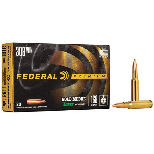 Federal Premium Gold Medal Ammo 308 Winchester 168gr Sierra MatchKing HP BT - Box of 20?>