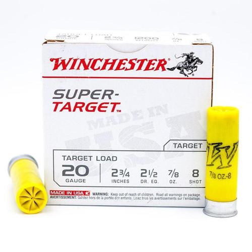 "Winchester 20 Gauge Super-Target 2-3/4"" #8 Shot 7/8 oz Lead - 25 Shotshells per Box?>"