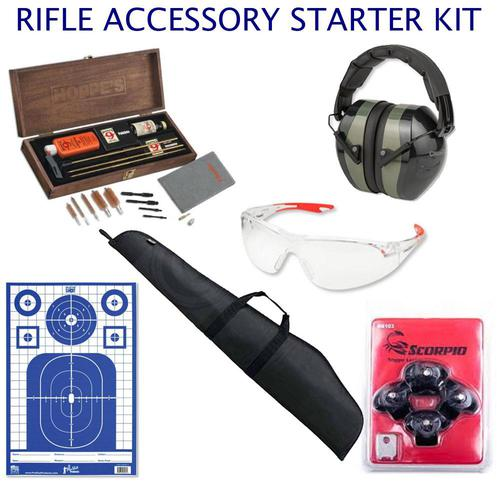 CUSTOM: Rifle Accessory Starter Kit - Cleaning Kit, Eye & Ear Protection, Case, Targets, Locks?>