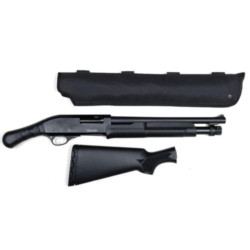"Churchill Pump Shotgun 12 Gauge 15"" Barrel Shockwave Grip Scabbard and Full Stock included Black K61255?>"