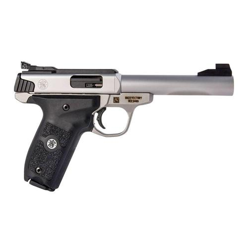"S&W SW22 Victory Semi-Auto Rimfire Pistol .22LR 5.5"" Match Barrel 10 Rounds Fiber Optic Sights Polymer Grips Satin Stainless Steel Finish, Demo?>"