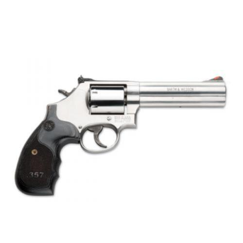"S&W 686 Plus 3-5-7 Magnum Series Revolver 357 Mag 5"" Barrel 7 Rounds Custom Black Wood Grips Satin Stainless Steel 150854?>"