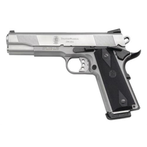 "S&W 1911 Semi-Auto Pistol .45 ACP 5"" Barrel Black Synthetic Grips Satin Stainless Finish 8 Rounds 108282?>"