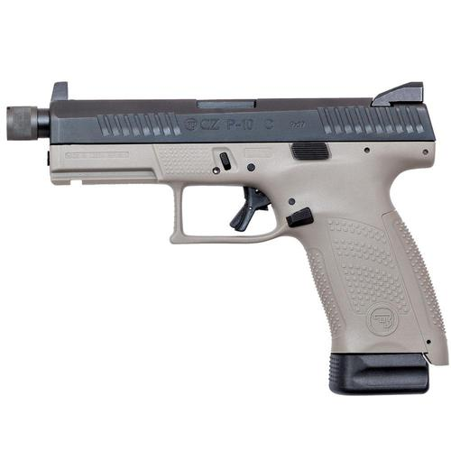"CZ P-10 C Semi-Auto Pistol 9mm Luger 4.6"" Threaded Barrel Striker Fired Urban Grey 4909-0640?>"