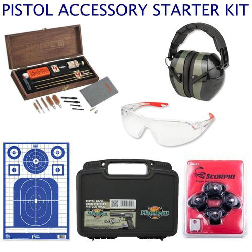 CUSTOM: Pistol Accessory Starter Kit - Cleaning Kit, Eye & Ear Protection, Case, Targets, Locks?>