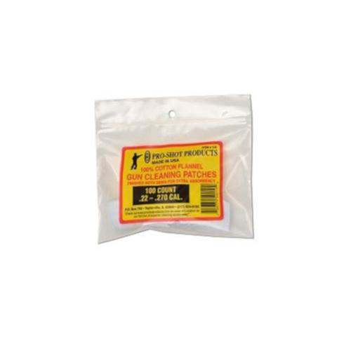 "Pro-Shot Cotton Flannel Cleaning Patches 22 to 270 Caliber 1-1/8"" - 100 Pack?>"