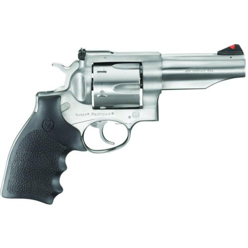 "Ruger Redhawk Revolver .44 Rem Mag 4.2"" Barrel 6 Rounds Hogue Rubber Grips Satin Stainless Steel Finish 5026?>"