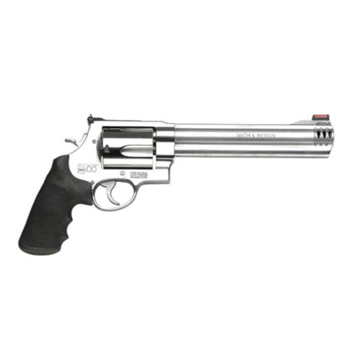 "S&W 500 Revolver .500 S&W 8 3/8"" Rubber Grip Satin Stainless Finish 5 Rd HiViz Sights 163501?>"
