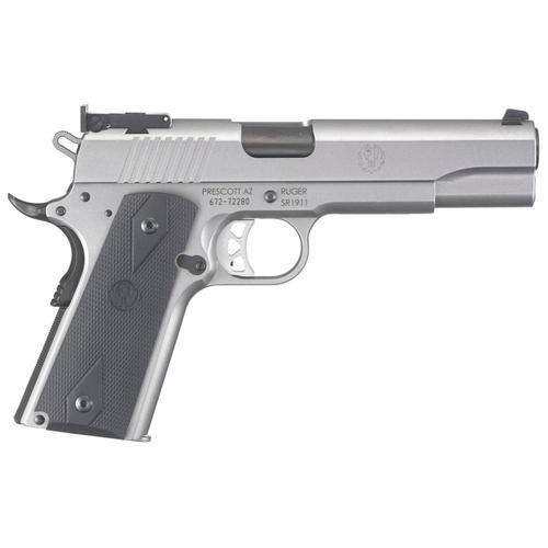 "Ruger SR1911 Target Semi-Auto Pistol 10mm Auto 5"" Barrel 8 Rounds Black Rubber Grips Stainless 6739?>"