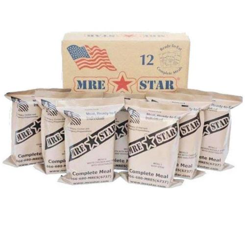 MRE Star MRE Pack Full Case, 12 Meals w/ Heaters - Menu E?>