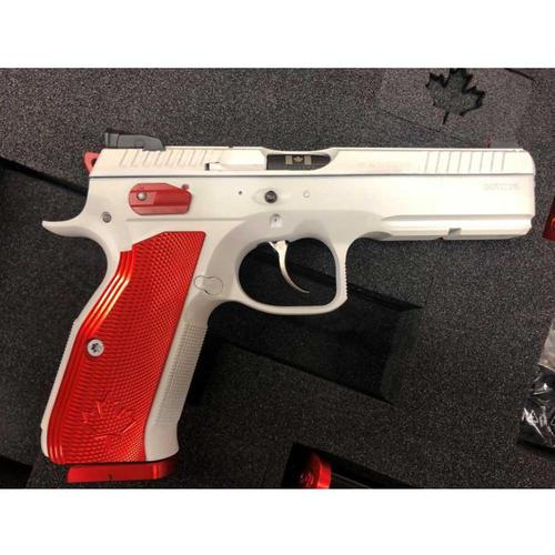 CZ Shadow 2 Canada Edition Semi-Auto Pistol, 9mm, Cerakoted White with Red Grips?>