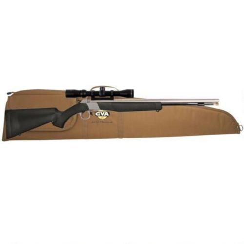 CVA Wolf Break Action Single Shot Black Powder Rifle .50 Caliber Konus 3-9x40mm Scope Black Synthetic Stock Stainless Steel Finish PR2110SSC?>