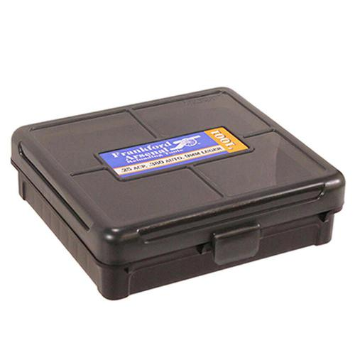 Frankford Arsenal Plastic Hinge-Top Ammo Box 100 Round .380ACP/9mm and Similar Polymer Gray?>
