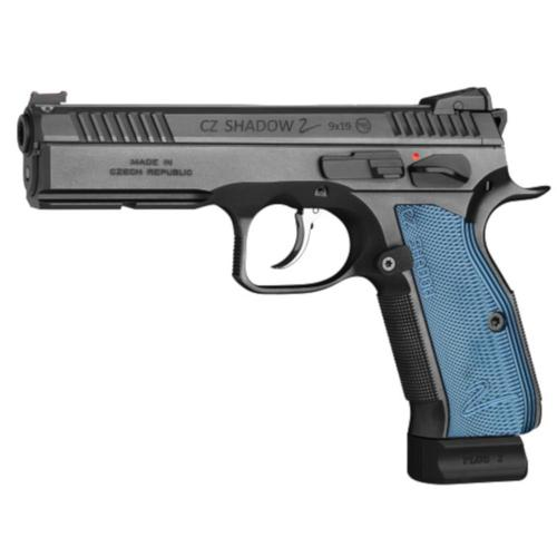 CZ Shadow 2 Semi-Auto Pistol 9mm 10 Round Adjustable Sights Black w/ Blue Grips?>