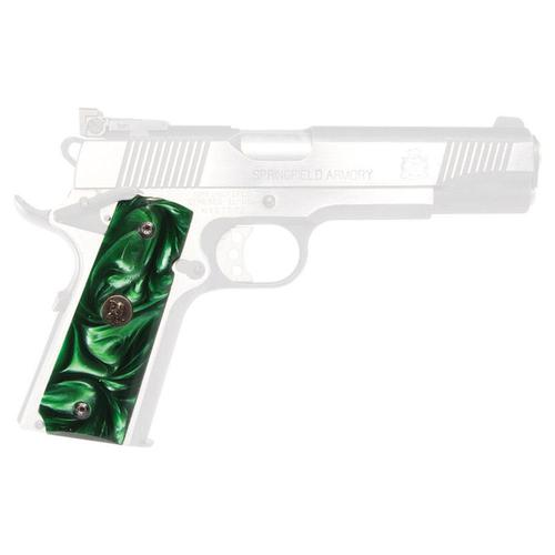 Custom Series Pearl Grips 1911's with Ambidextrous Safeties, Smooth, Emerald?>